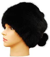 """Норковая женская шапка  """"Барби на трикотаже """" цвет черный"""