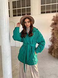 Трендова жіноча стьобана демі куртка Пазл з плащової тканини, 11764