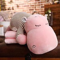 Дитяча іграшка Бегемот 3 в 1 (Іграшка,плед,подушка) , відмінний подарунок, фото 1