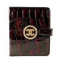 Женская кожаная визитница Chanel бордовая, 48 файлов