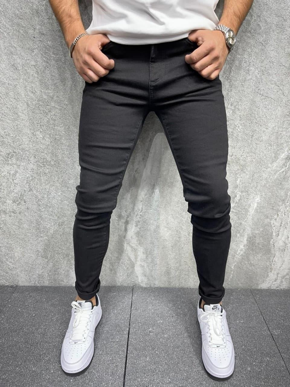 Джинси - Чоловічі трендові джинси чорні / чоловічі трендові джинси чорні