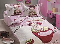 """Постельное белье """"Arya"""" Strawberry baby сатин для новорожденных 100х150"""