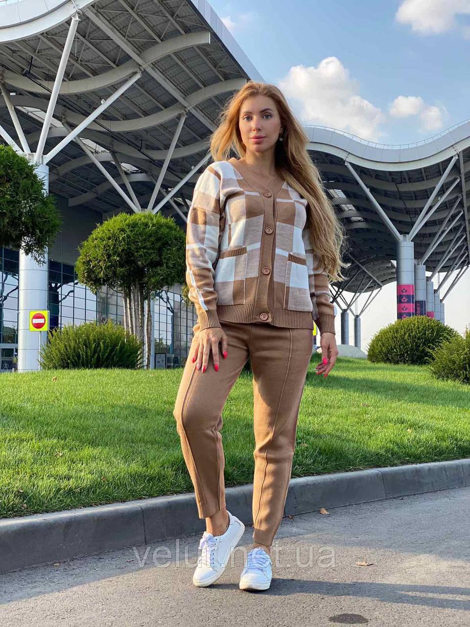 Жіночий спортивний в'язаний костюм двійка, (Туреччина); Розміри:універсальний (44-46-48);3 кольори на фото.