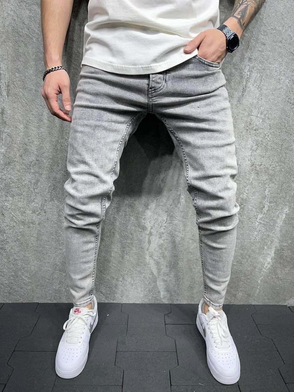 Джинсы - Мужские трендовые джинсы серые / чоловічі трендові джинси сірі світлі