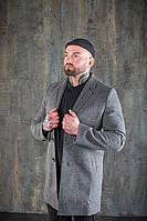Повседневное классическое мужское пальто демисезонное короткое темно - серое