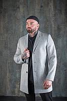 Повседневное классическое мужское пальто демисезонное короткое светло - серое