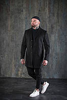 Повседневное классическое мужское пальто демисезонное короткое черное