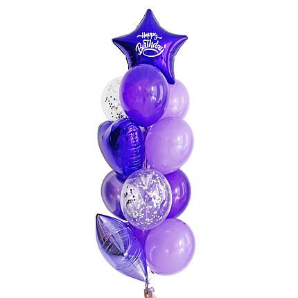 """Зв'язка повітряних кульок з фіолетовими зірками і написом """"Happy Birthday"""", фото 2"""