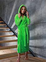 Яркий салатовый женский махровый халат