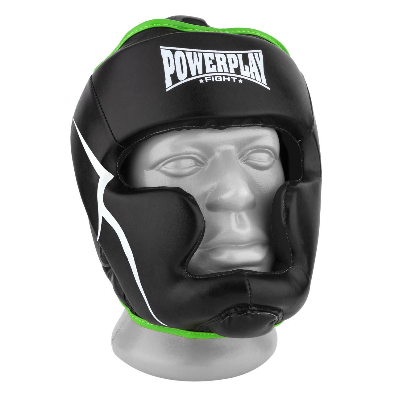 Боксерский шлем тренировочный PowerPlay 3100 PU Черно-зеленый XS