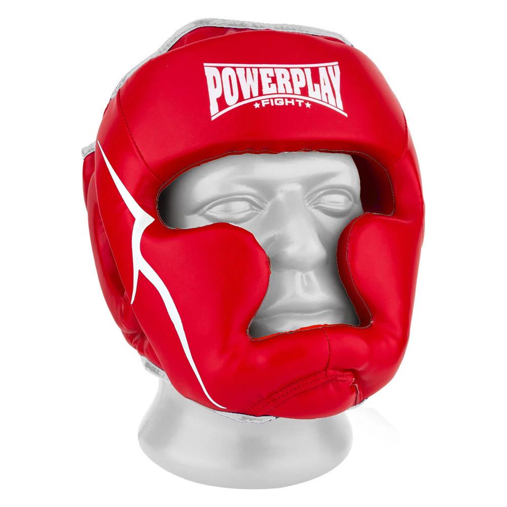 Боксерский шлем тренировочный PowerPlay 3100 PU Красный M