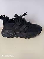 Кросівки молодіжні чорні на платформі, фото 1