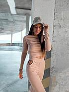 Жіночий костюм двійка зі штанами і укороченою кофтою з тканини турецька рубчик (мустанг), фото 3