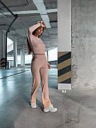 Жіночий костюм двійка зі штанами і укороченою кофтою з тканини турецька рубчик (мустанг), фото 2