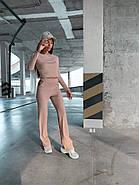 Жіночий костюм двійка зі штанами і укороченою кофтою з тканини турецька рубчик (мустанг), фото 4
