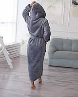Сірий довгий махровий халат жіночий, розмір 44-56