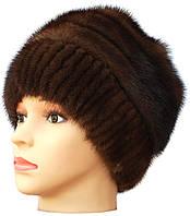 """Меховая женская шапка  """"Барби на трикотаже """" цвет орех"""