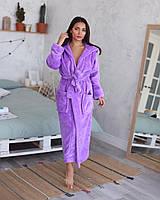 Дуже красивий жіночий махровий халат в модному кольорі бузок