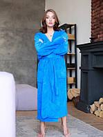 Красивий жіночий махровий халат колір волошковий , Туреччина