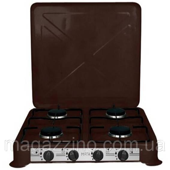 Настольная газовая плита таганок на четыре конфорки с крышкой, Mirta GS-1004LN, коричневая