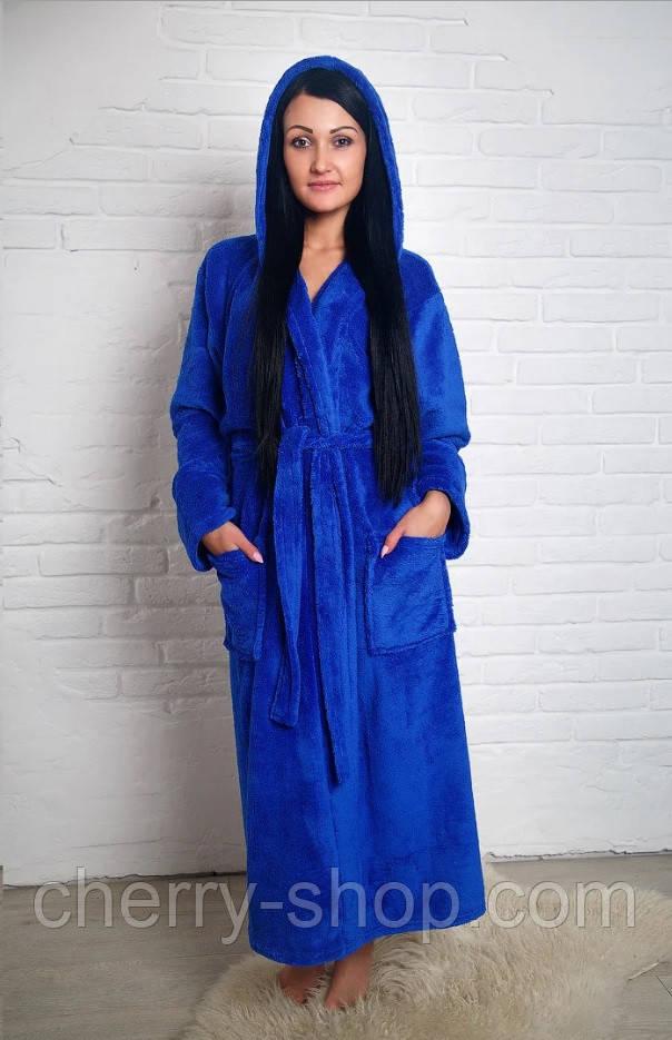 Махровий жіночий халат з капюшоном