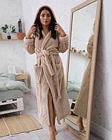 Бежевий махровий жіночий халат з капюшоном