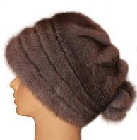 """Норковая  шапка  """"Барби """" цвет серо голубая"""