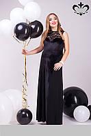 Вечернее длинное платье из бархата + дайвинг + гипюр, фото 1