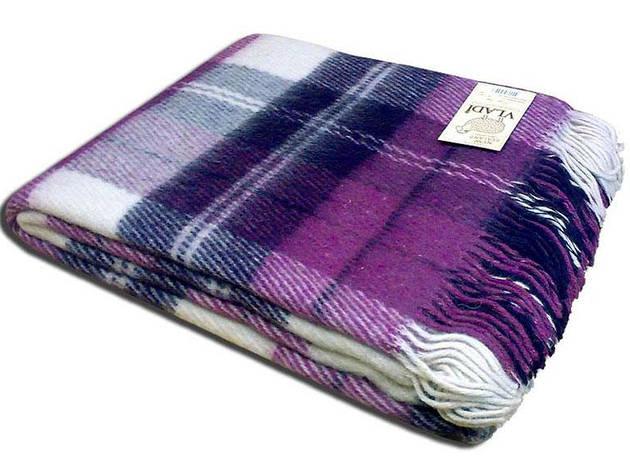 Шерстяной плед Vladi Эльф фиолетовый в клетку 170*210, фото 2