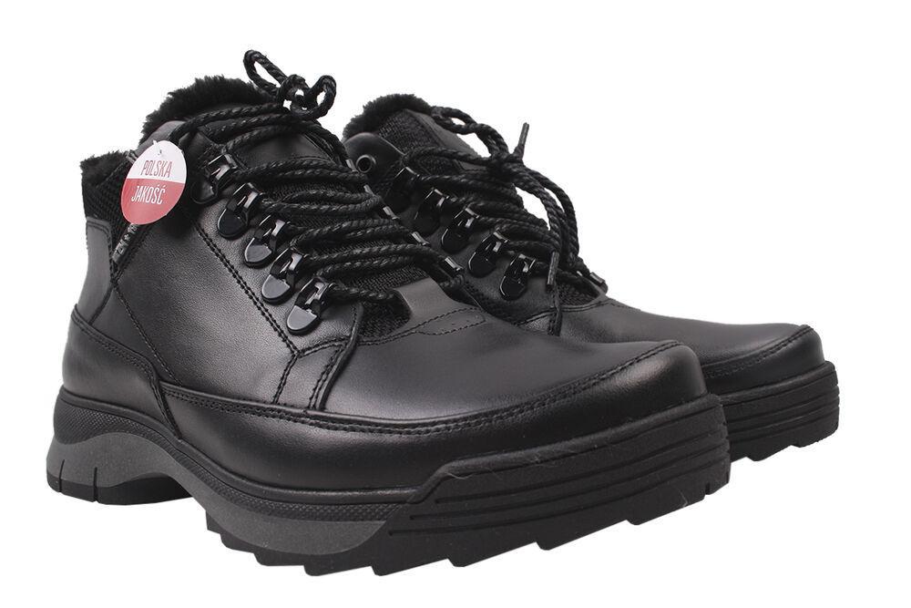 Черевики чоловічі з натуральної шкіри, на шнурівці, чорні, Україна Vadrus