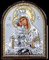 Почаевская Икона Божьей Матери серебряная с позолотой Silver Axion (Греция) 85 х 105 мм