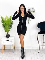 Женское облегающее короткое платье на молнии, фото 1