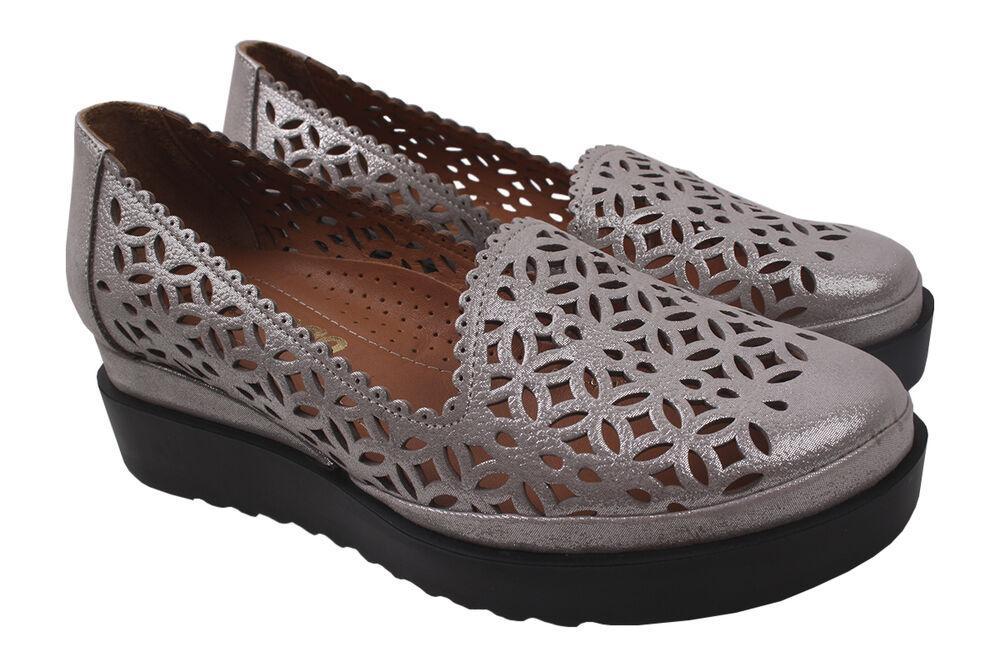 Туфлі жіночі Euromoda шкіра сатин, колір срібло