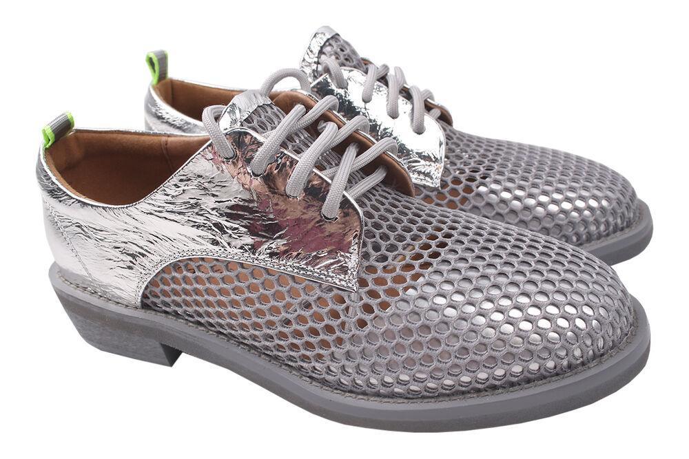 Туфли на низком ходу женские Brocoly текстиль, цвет серебро