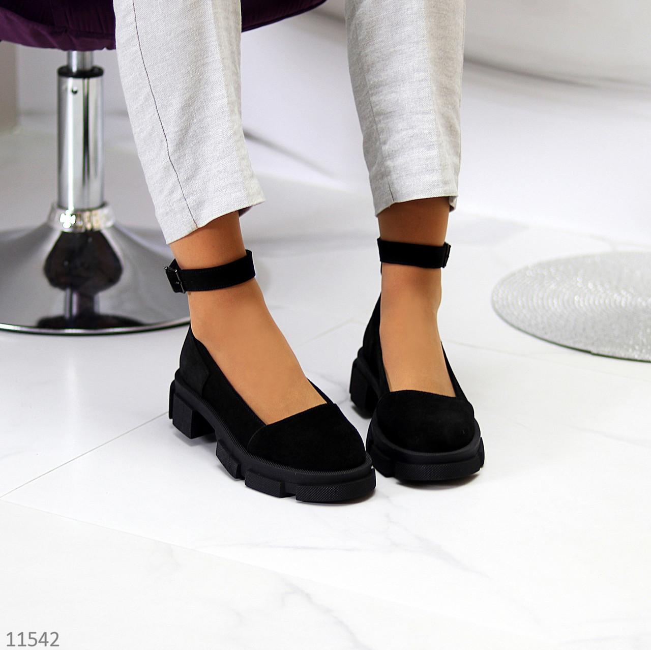 Замшевые женские туфли натуральная замша на шлейке на утолщенной подошве 36-23,5 37-24 38-24,5 39-25 40-25,5см