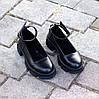 Шкіряні жіночі туфлі натуральна шкіра шлейка на товстій підошві 36-23,5 37-24 38-24,5 39-25 40-25,5 см, фото 3