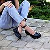 Шкіряні жіночі туфлі натуральна шкіра шлейка на товстій підошві 36-23,5 37-24 38-24,5 39-25 40-25,5 см, фото 5