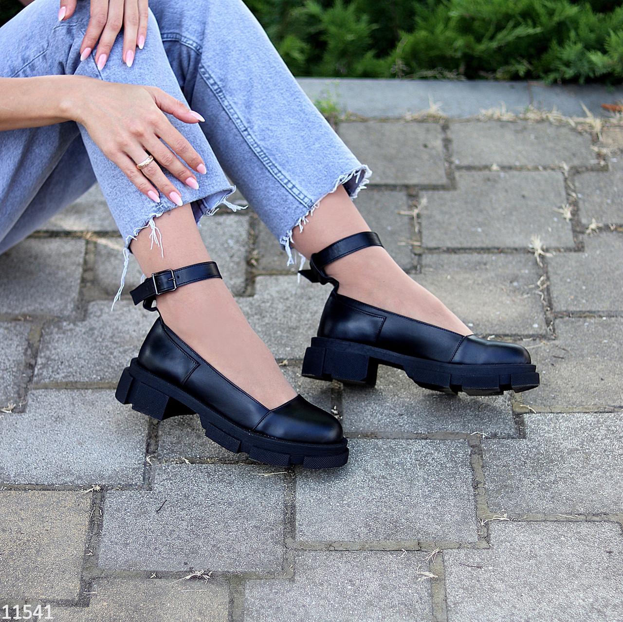 Шкіряні жіночі туфлі натуральна шкіра шлейка на товстій підошві 36-23,5 37-24 38-24,5 39-25 40-25,5 см