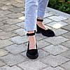 Замшевые женские туфли натуральная замша на шлейке на утолщенной подошве 36-23,5 37-24 38-24,5 39-25 40-25,5см, фото 3