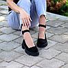 Замшевые женские туфли натуральная замша на шлейке на утолщенной подошве 36-23,5 37-24 38-24,5 39-25 40-25,5см, фото 2