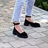 Замшевые женские туфли натуральная замша на шлейке на утолщенной подошве 36-23,5 37-24 38-24,5 39-25 40-25,5см, фото 4