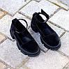 Замшевые женские туфли натуральная замша на шлейке на утолщенной подошве 36-23,5 37-24 38-24,5 39-25 40-25,5см, фото 5