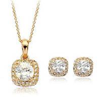 Комплект ювелирная бижутерия золото 18К декор кристаллы Swarovski