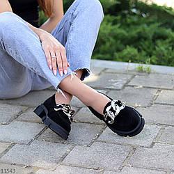Эффектные замшевые черные женские туфли натуральная замша на массивной подошве