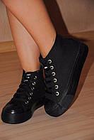 Кеды джинсовые черные двойная подошва код 847