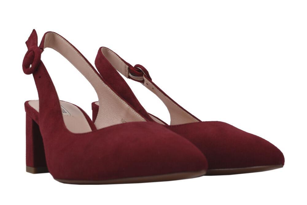 Туфли на каблуке женские Anemone натуральная замша, цвет красный
