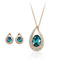 Комплект ГОЛУБАЯ МЕЧТА ювелирная бижутерия золото 18К декор кристаллы Swarovski