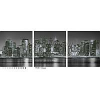 """Схема-триптих для вышивки бисером (пейзаж) """"Город, который никогда не спит"""" (изображение черно-белое)"""