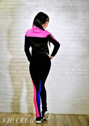 Спортивный костюм женский черный с малиновыми вставками, фото 2