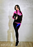Спортивный костюм женский черный с малиновыми вставками
